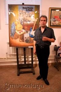Художник Ринат (рядом со своей работой «Страсти по Блекмору») калуга