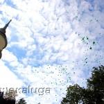 После освящение памятника в небо выпустили воздушные шары калуга