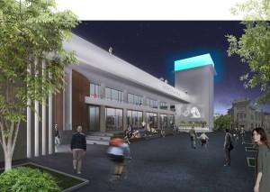 Фасад здания кинотеатра вечером калуга