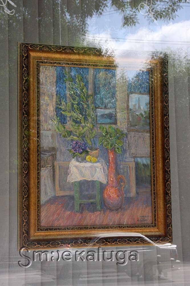 В витрине Калужского Дома художника представлен «Интерьер в живописи»