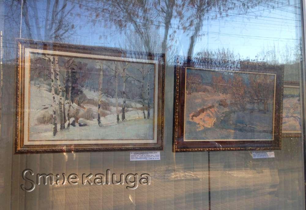 В витрине Дома художника представлена выставка этюдов со снегом Владимира Арепьева