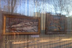 В витрине Дома художника представлена выставка этюдов со снегом Владимира Арепьева калуга