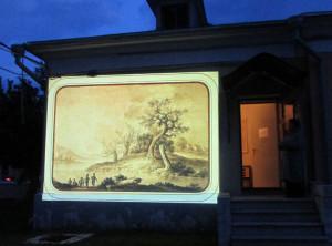"""Виртуальное шоу """"Музей на фасаде"""" КМИИ. Источник фотографии http://relax.kp40.ru калуга"""