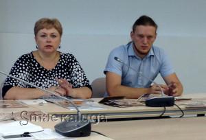На пресс-конференции. Екатерина Сергеева и Андрей Белявский