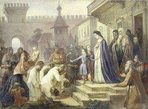 Царица Наталия Кирилловна с царевичем Петром на Красном крыльце