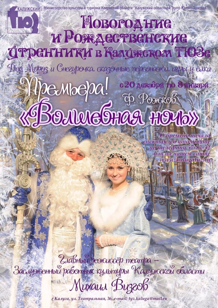 Новогодний утренник и спектакль «ВОЛШЕБНАЯ НОЧЬ» в Калужском ТЮЗе. Премьера