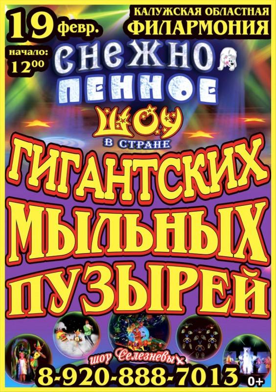Снежно-пенное шоу «В стране гигантских пузырей» в Калужской областной филармонии